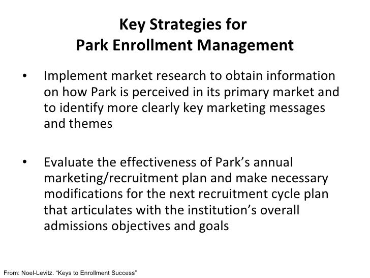 Key Strategies for  Park Enrollment Management <ul><li>Implement market research to obtain information on how Park is perc...