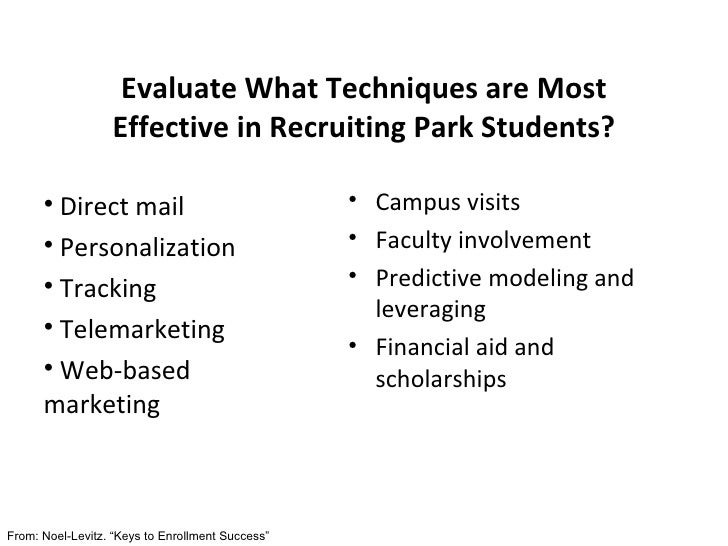 Evaluate What Techniques are Most Effective in Recruiting Park Students? <ul><li>Campus visits </li></ul><ul><li>Faculty i...