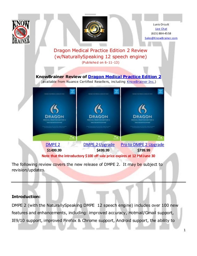 1KnowBrainer Review of Dragon Medical Practice Edition 2(available from Nuance Certified Resellers, including KnowBrainer ...