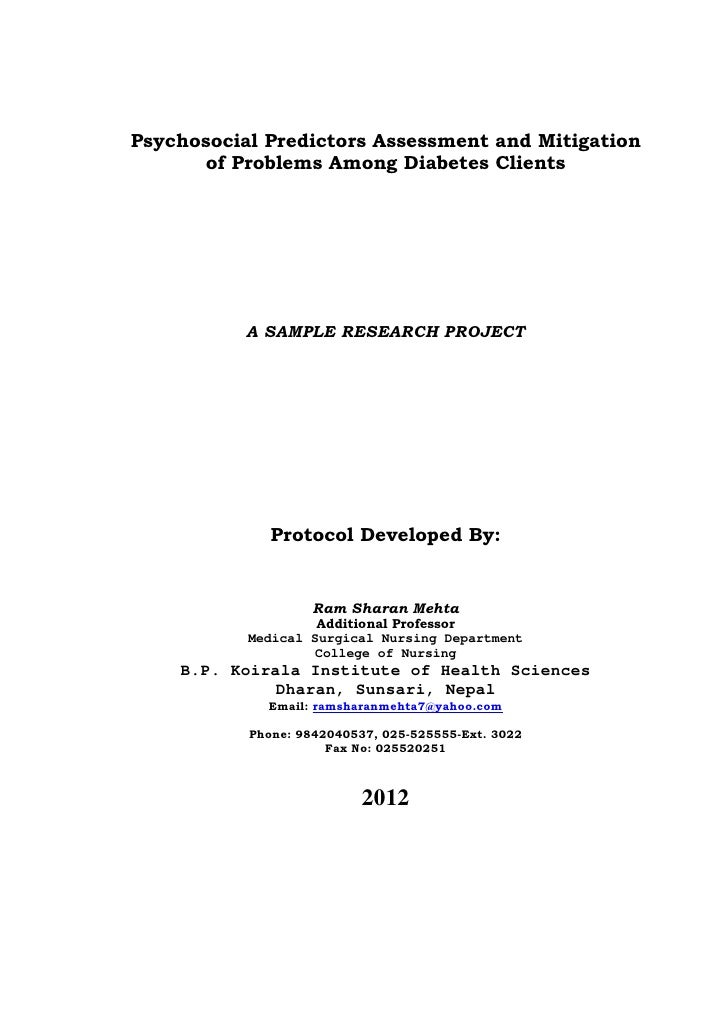 Psychosocial Predictors Assessment and Mitigation       of Problems Among Diabetes Clients           A SAMPLE RESEARCH PRO...