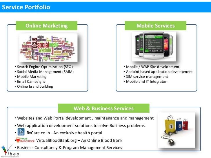 Service Portfolio          Online Marketing                                           Mobile Services    • Search Engine O...