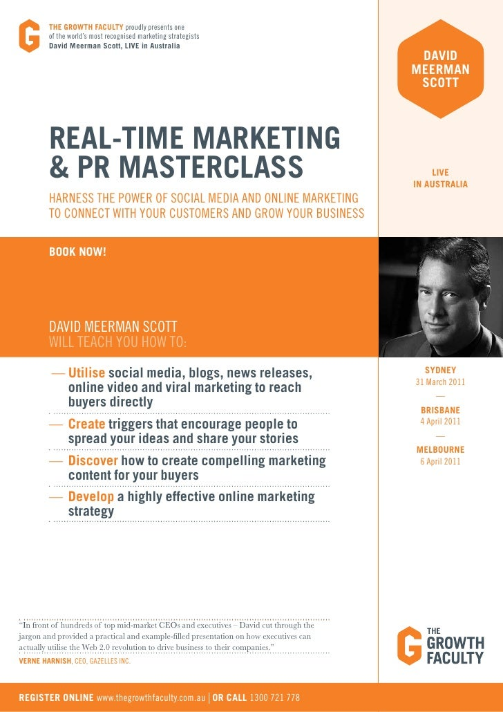 The Old Rules of Marketing and PR are       ineffective in an online worldAbout David Meerman Scottdavid meerman scott is ...
