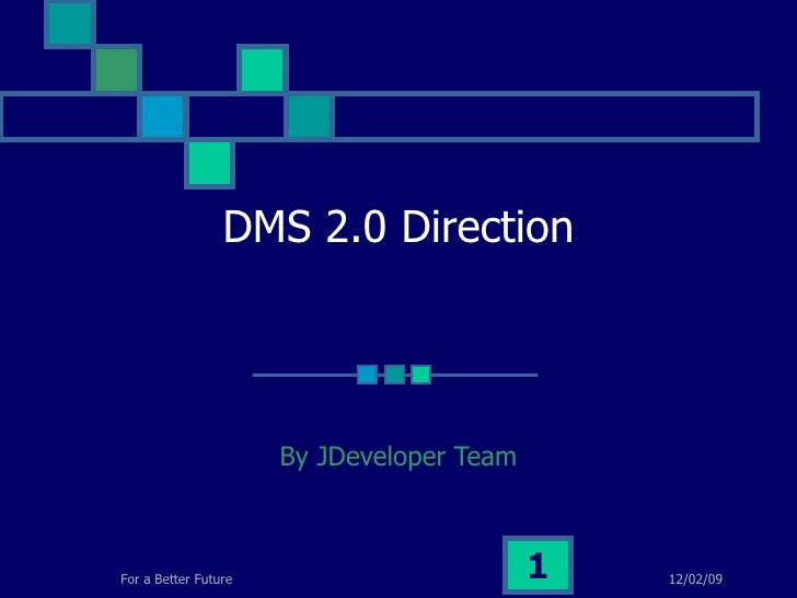 DMS 2.0 Direction By JDeveloper Team 06/07/09 For a Better Future