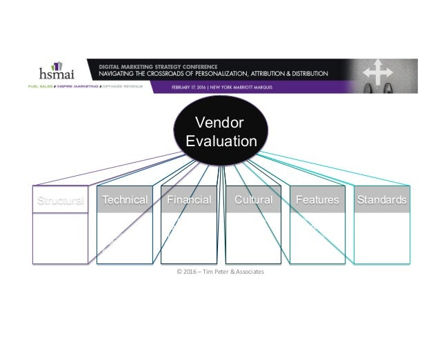 ©2016–TimPeter&Associates Vendor Evaluation Structural Technical Financial Cultural Features Standards •Financial...