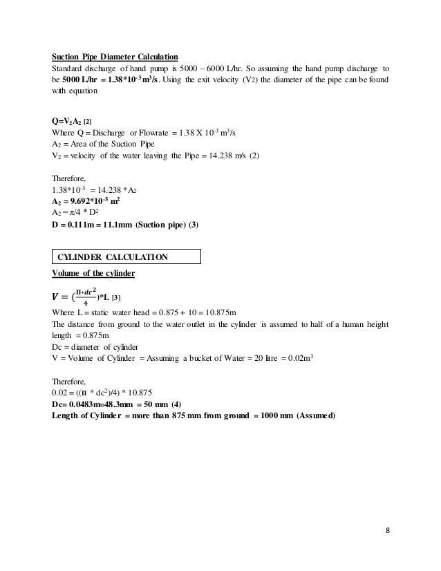 Hand pump design calculation 8 ccuart Choice Image