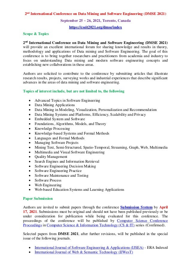 2nd International Conference on Data Mining and Software Engineering (DMSE 2021) September 25 ~ 26, 2021, Toronto, Canada ...