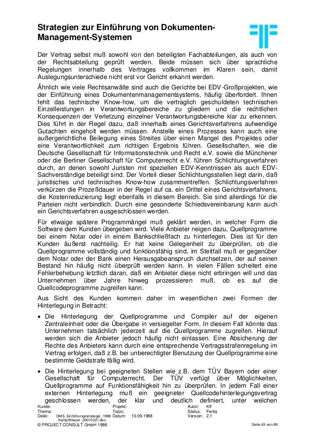 Strategien zur Einführung von Dokumenten- Management-Systemen Kunde: Projekt: Autor: Kff Thema: Topic: Status: Fertig Date...