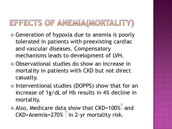 Effects of anemia(mortality)<br />Generation of hypoxia due to anemia is poorly tolerated in patients with preexisting car...