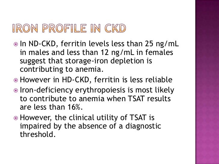 Iron Profile in CKD<br />In ND-CKD, ferritin levels less than 25 ng/mL in males and less than 12 ng/mL in females suggest ...