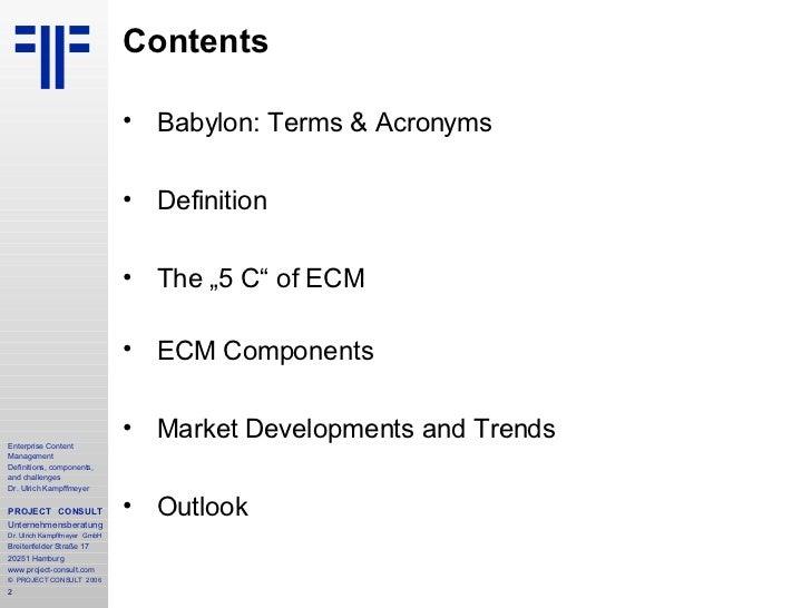 [EN] ECM Enterprise Content Management | DMSEXPO | 2006 | Ulrich Kampffmeyer Slide 2