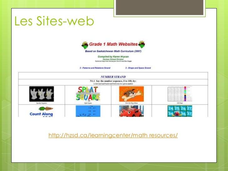 Les Sites-web<br />http://hzsd.ca/learningcenter/math resources/<br />