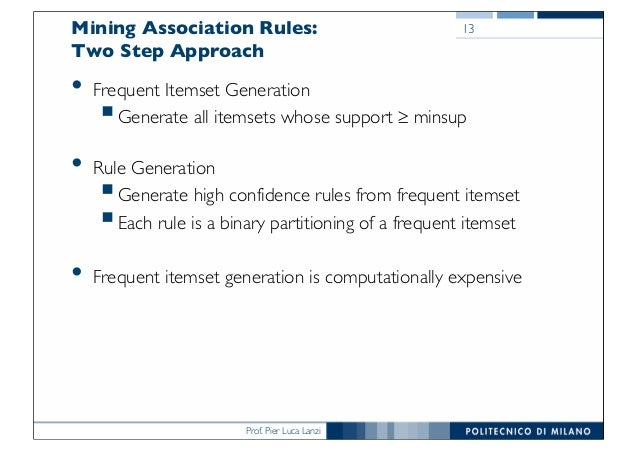 Prof. Pier Luca Lanzi Mining Association Rules: Two Step Approach • Frequent Itemset Generation §Generate all itemsets who...