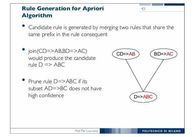 Prof. Pier Luca Lanzi Rule Generation for Apriori Algorithm • Candidate rule is generated by merging two rules that share ...