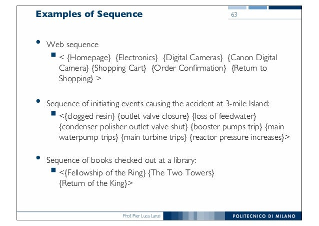 Prof. Pier Luca Lanzi Examples of Sequence • Web sequence §< {Homepage} {Electronics} {Digital Cameras} {Canon Digital Cam...