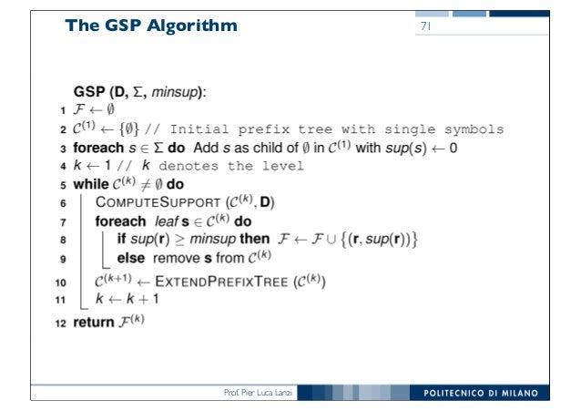 Prof. Pier Luca Lanzi The GSP Algorithm 71