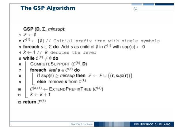 Prof. Pier Luca Lanzi The GSP Algorithm 72