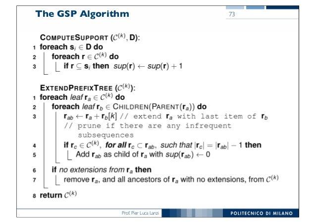 Prof. Pier Luca Lanzi The GSP Algorithm 73