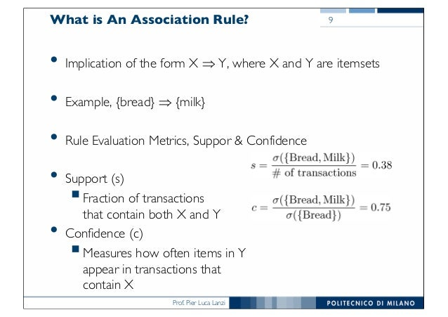 Prof. Pier Luca Lanzi What is An Association Rule? • Implication of the form X Þ Y, where X and Y are itemsets • Example, ...