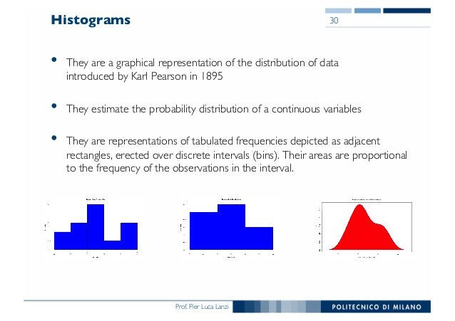 Prof. Pier Luca Lanzi Histograms • They are a graphical representation of the distribution of data introduced by Karl Pear...