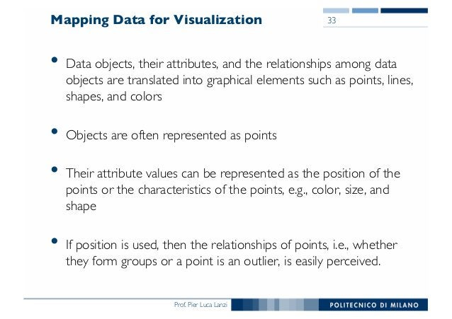 Prof. Pier Luca Lanzi Mapping Data for Visualization • Data objects, their attributes, and the relationships among data ob...
