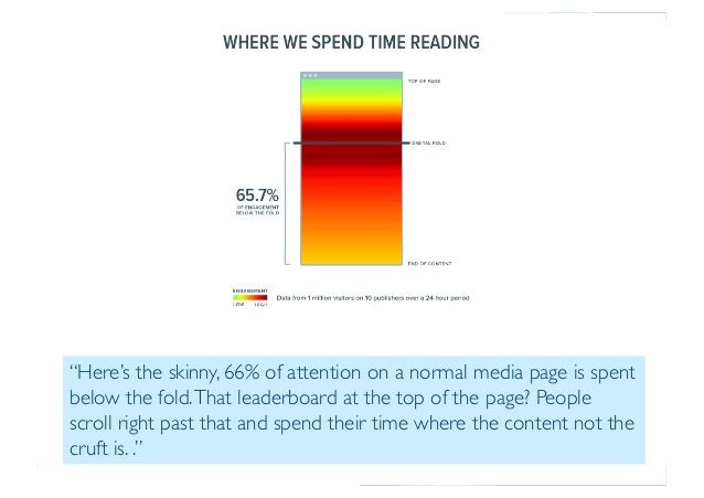 """Prof. Pier Luca Lanzi """"Here's the skinny, 66% of attention on a normal media page is spent below the fold.That leaderboard..."""