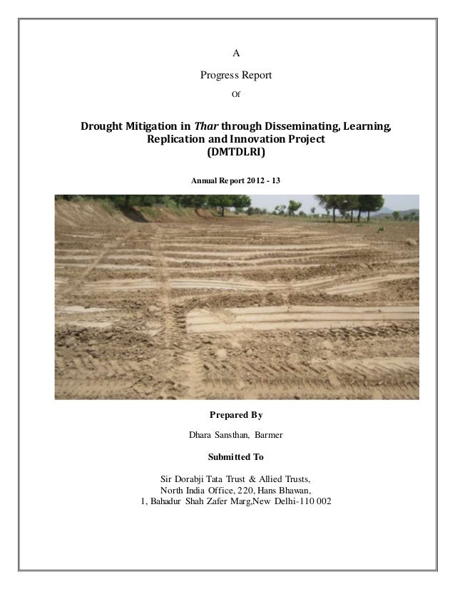 A Progress Report Of Drought Mitigation in Thar through Disseminating, Learning, Replication and Innovation Project (DMTDL...