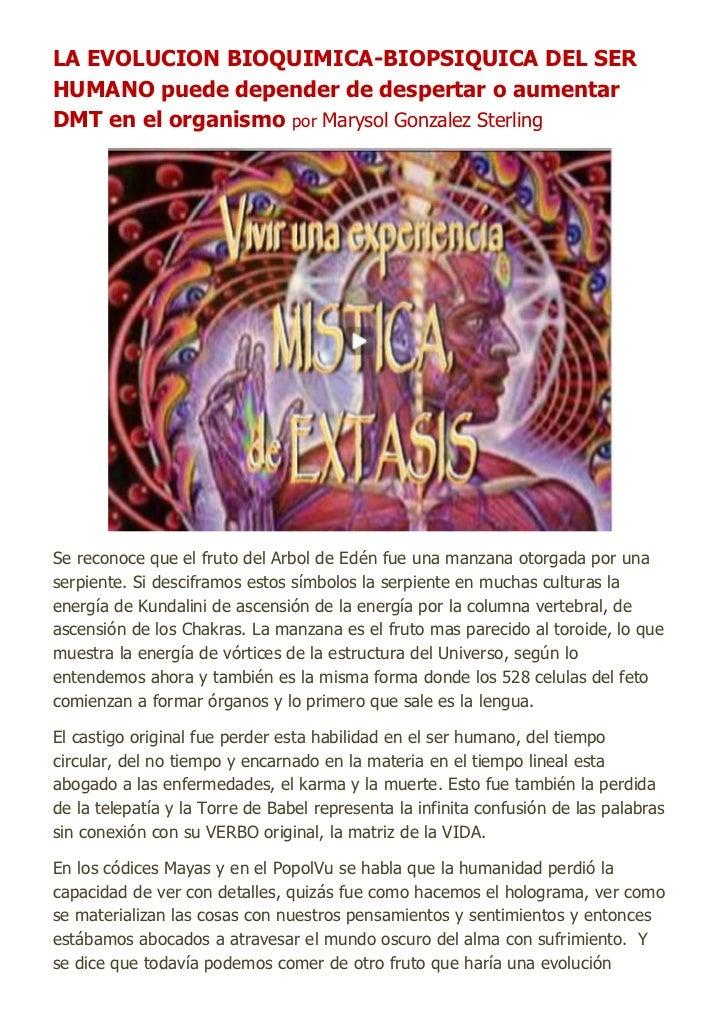 LA EVOLUCION BIOQUIMICA-BIOPSIQUICA DEL SERHUMANO puede depender de despertar o aumentarDMT en el organismo por Marysol Go...