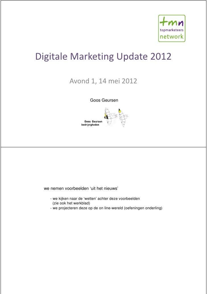 Digitale Marketing Update 2012               Avond 1, 14 mei 2012                           Goos Geursen we nemen voorbeel...