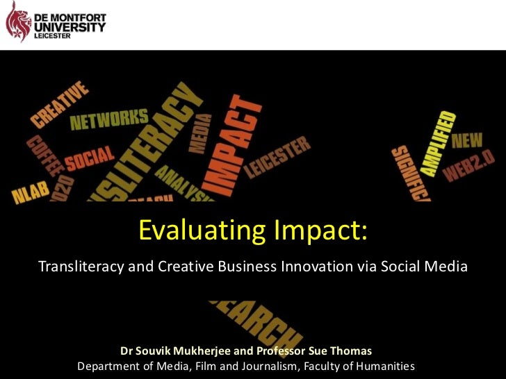 Evaluating Impact:<br />Transliteracy and Creative Business Innovation via Social Media<br />Dr SouvikMukherjee and Profes...