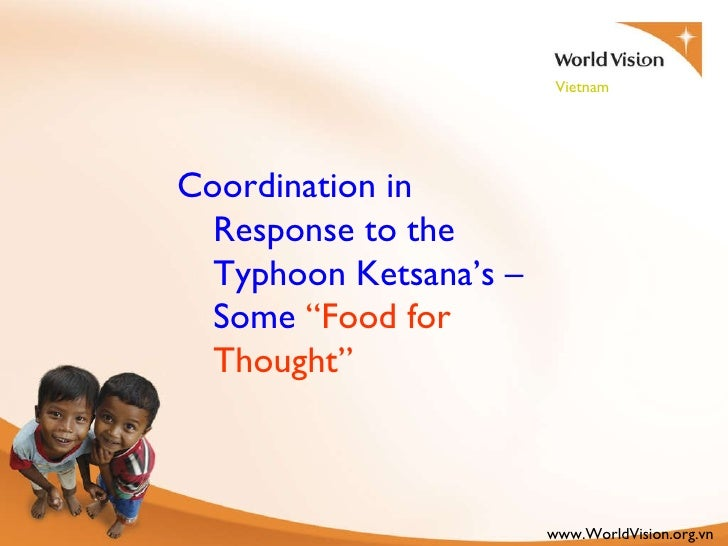 """Coordination in Response to the Typhoon Ketsana's – Some  """"Food for Thought"""""""