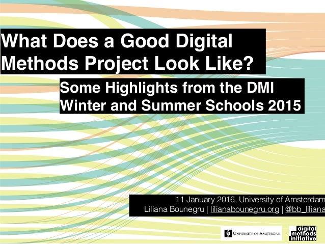 What Does a Good Digital Methods Project Look Like? 11 January 2016, University of Amsterdam Liliana Bounegru | lilianabou...