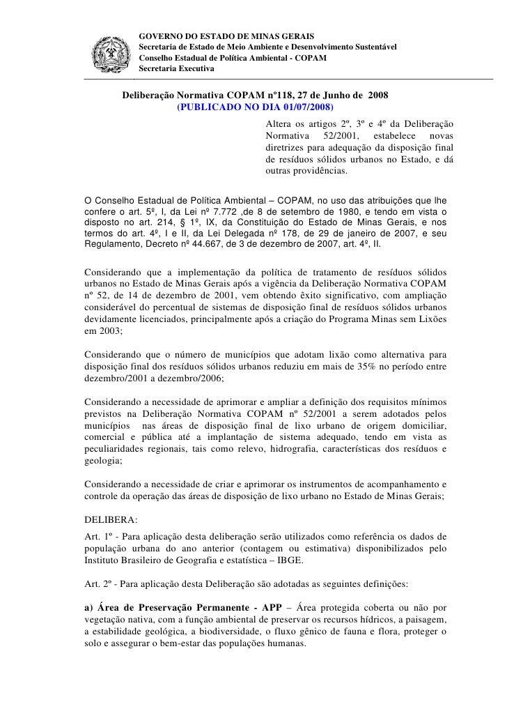GOVERNO DO ESTADO DE MINAS GERAIS             Secretaria de Estado de Meio Ambiente e Desenvolvimento Sustentável         ...