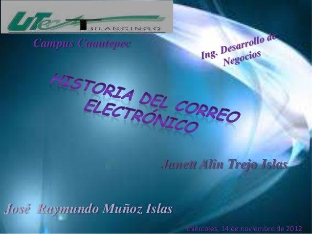 Campus Cuautepec                       Janett Alin Trejo IslasJosé Raymundo Muñoz Islas                            miércol...