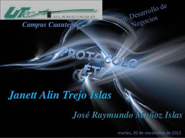 Campus CuautepecJanett Alin Trejo Islas                José Raymundo Muñoz Islas                          martes, 20 de no...