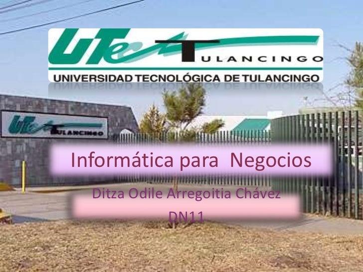 Informática para Negocios  Ditza Odile Arregoitia Chávez              DN11