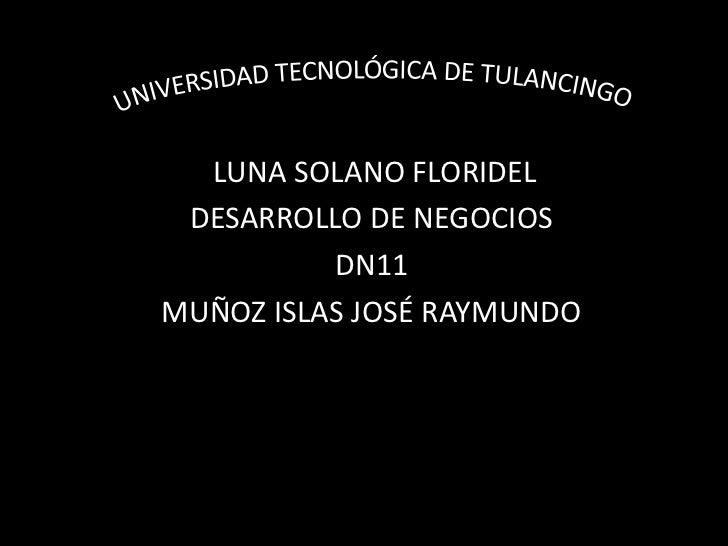 LUNA SOLANO FLORIDEL DESARROLLO DE NEGOCIOS          DN11MUÑOZ ISLAS JOSÉ RAYMUNDO