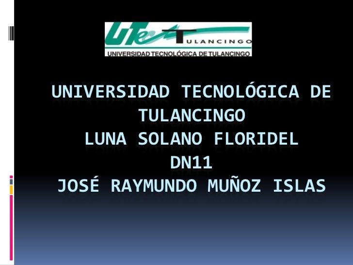 UNIVERSIDAD TECNOLÓGICA DE         TULANCINGO    LUNA SOLANO FLORIDEL            DN11 JOSÉ RAYMUNDO MUÑOZ ISLAS