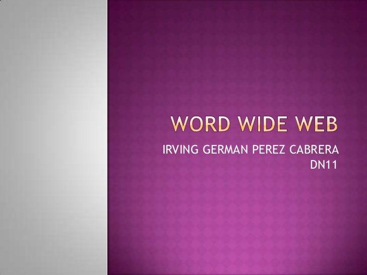 WORD WIDE WEB<br />IRVING GERMAN PEREZ CABRERA DN11<br />