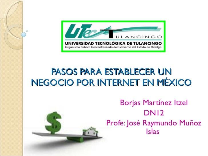 PASOS PARA ESTABLECER UN NEGOCIO POR INTERNET EN MÉXICO Borjas Martínez Itzel DN12 Profe: José Raymundo Muñoz Islas