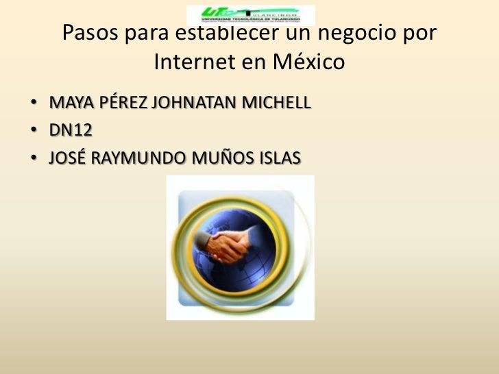 Pasos para establecer un negocio por            Internet en México• MAYA PÉREZ JOHNATAN MICHELL• DN12• JOSÉ RAYMUNDO MUÑOS...