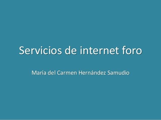 Servicios de internet foro  María del Carmen Hernández Samudio