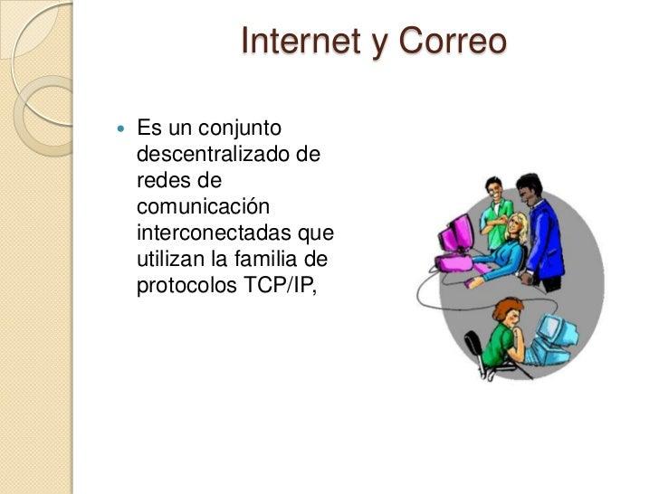 Internet y Correo   Es un conjunto    descentralizado de    redes de    comunicación    interconectadas que    utilizan l...