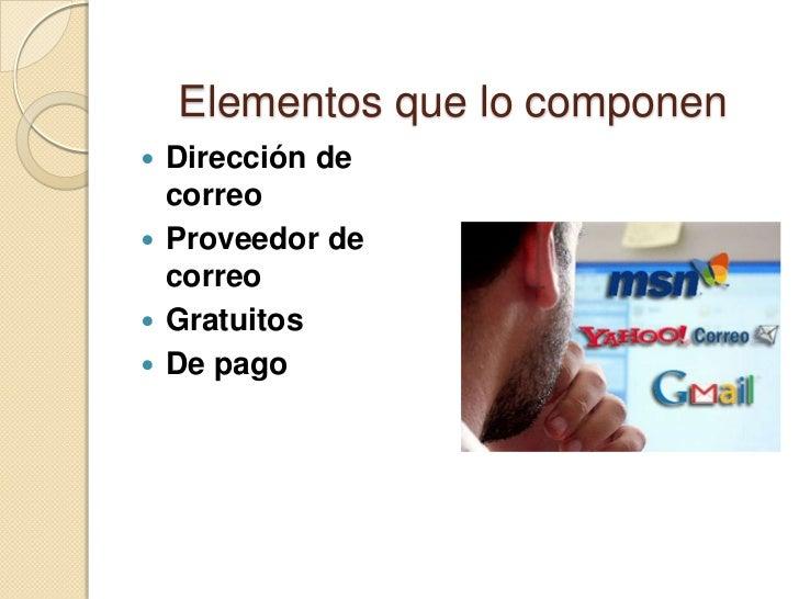 Elementos que lo componen Dirección de  correo Proveedor de  correo Gratuitos De pago