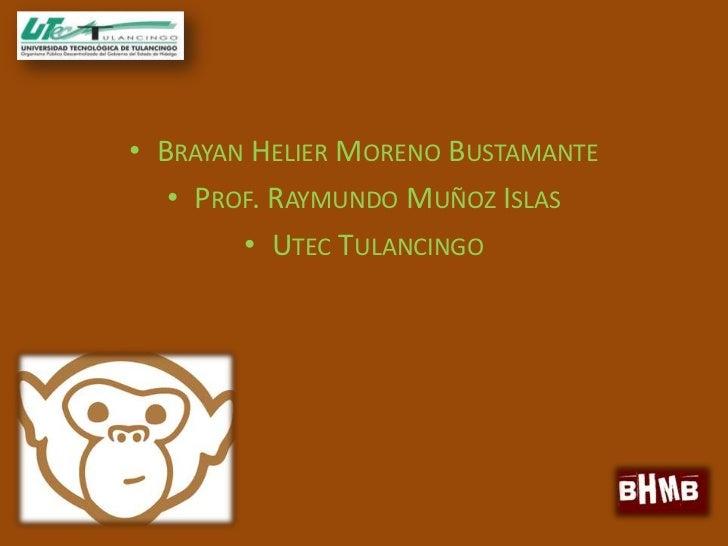 • BRAYAN HELIER MORENO BUSTAMANTE   • PROF. RAYMUNDO MUÑOZ ISLAS        • UTEC TULANCINGO