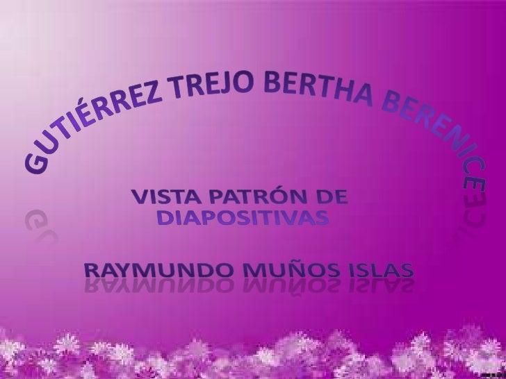 Gutiérrez Trejo Bertha Berenice <br />Vista patrón de diapositivas<br />Raymundo Muños Islas <br />