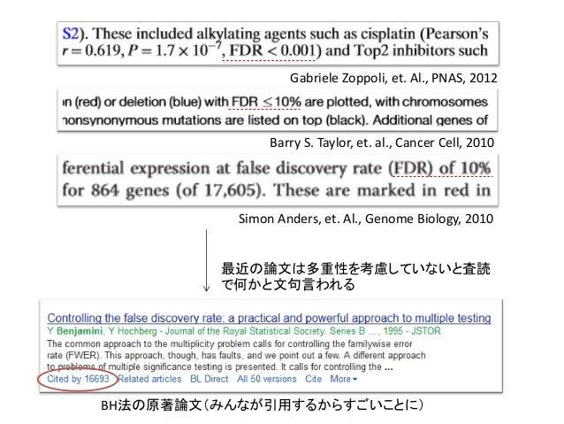 BH法の原著論文(みんなが引用するからすごいことに)最近の論文は多重性を考慮していないと査読で何かと文句言われるGabriele Zoppoli, et. Al., PNAS, 2012Barry S. Taylor, et. al., Can...
