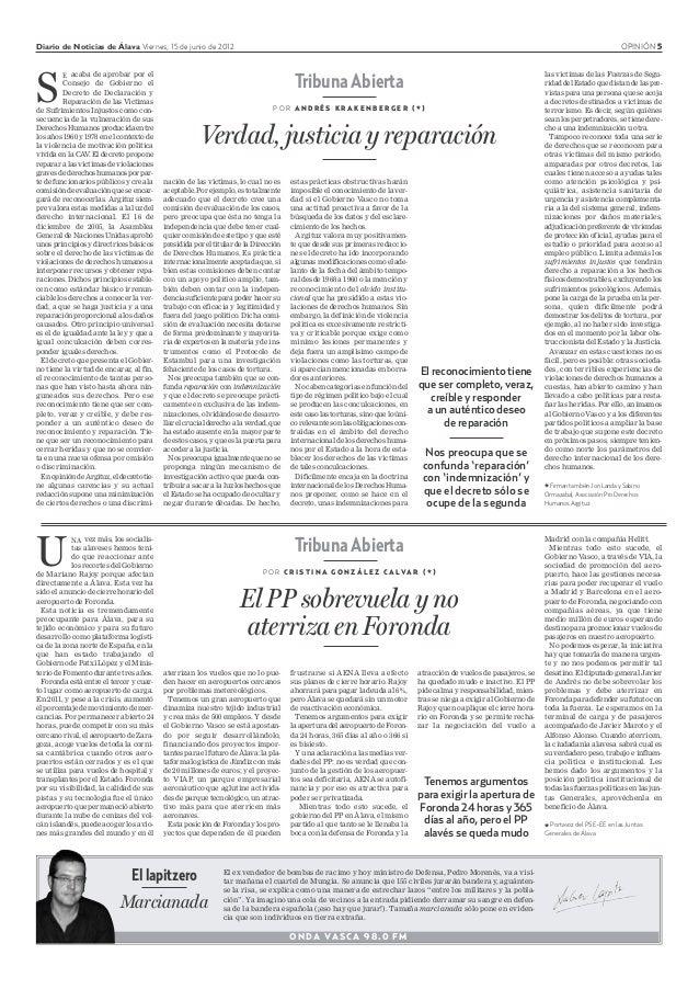 Diario de Noticias de Álava Viernes, 15 de junio de 2012 OPINIÓN 5 Tribuna Abierta P O R C R I S T I N A G O N Z Á L E Z C...