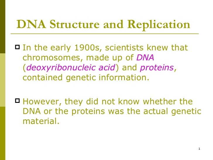 DNA Structure and Replication <ul><li>In the early 1900s, scientists knew that chromosomes, made up of  DNA  ( deoxyribonu...