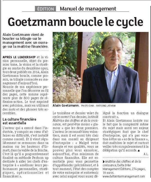 Alain Goetzmann dans les Dernières Nouvelles d'Alsace