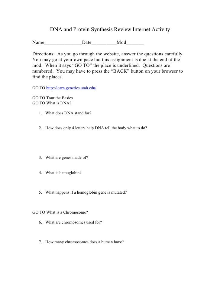 Dna And Protein Synthesis Review Internet Activity – Dna Review Worksheet Answer Key